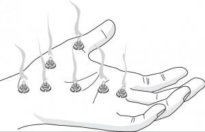 Ogrzewanie podstawowych punktów energetycznych minimoksami na powierzchni Yin dłoni